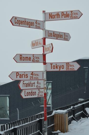 Signpost at Kangerlussuaq, Greenland [Photo by Mikkel Schøler]